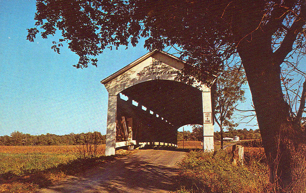 Leatherwood Station Bridge, Parke County, Indiana.  This postcard photo shows bridge at original location near Bloomingdale.  Crossed Bloomingdale Creek.