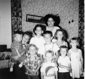 1st row: Brenda, Floyd, Karen, Dusty, Betty 2nd row: Ronnie and Sande 3rd row: Phyllis and Anna Back row: Margie