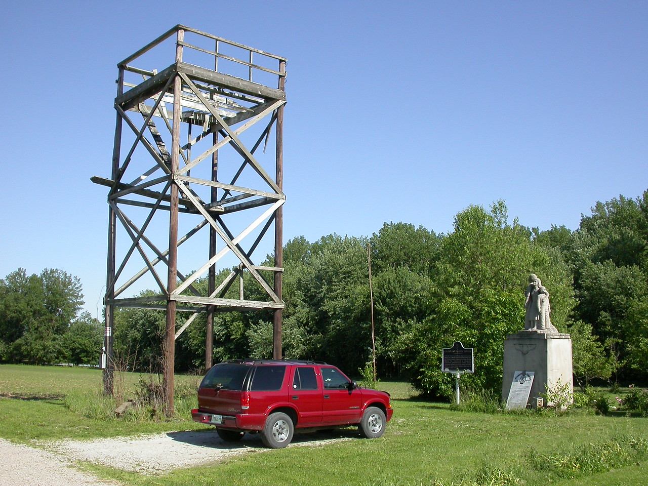 Cairo, Indiana Operation Skywatch Tower.  It was the site of some strange nationwide watch-for-Russian-in-bombers program in the 1950's.  Volunteers staffed the tower around the clock.  Photographed May 04.  Tower is in poor condition.